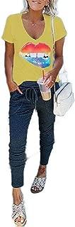 Mogogo Women's Regular Short-Sleeve Lips V-Neck Casual Loose Pocket Top