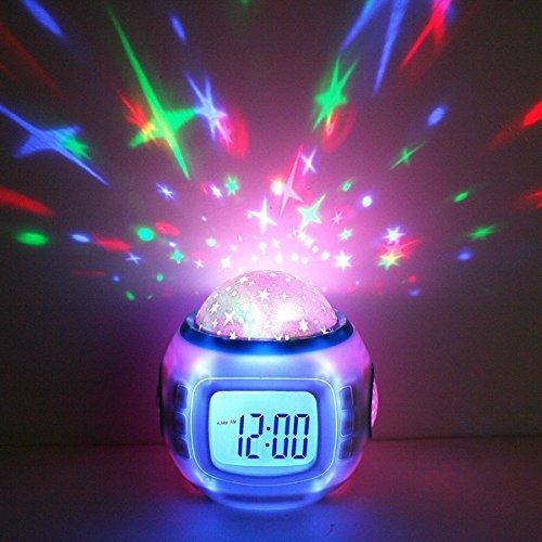 Premium wekker & LED sterrenhemel projector (digitaal) 10 melodieën - klok nachtlicht inslaaphulp voor baby & kinderen - decoratieve lamp decoratieve lamp lamp lamp lamp sterrenhemel maan en sterrenprojector