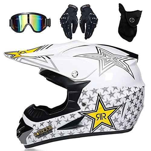 Casco Moto Niño Casco Enduro MTB Integral DOT Aprobado Casco Motocross Infantil...