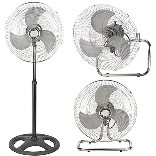 Bakaji Ventilatore 3in1 Piantana Da tavolo Parete in Acciaio e Plastica 3 Velocita Regolabili Funzione Oscillazione Potenza 70 W Diametro Pale 45cm Altezza Regolabile Max