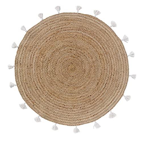 TIENDA EURASIA® Alfombra Yute Redonda - Alfombra de Yute Lisa con Pompones - Ø120 cm - Estilo Nordico (Blanco)