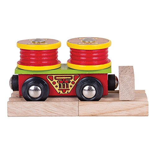 Bigjigs Rail Cable Rolls Wagon - Other Major Wooden Rail Brands are Compatible