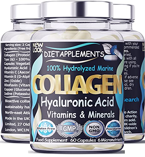 Marine Collagen Type 1&3 1000mg, Hyaluronic Acid 200mg/serving; Vitamin C, Zinc, Copper for Immune System; E, B2, Iodine. Hydrolyzed Peptides Supplement. Skin, Hair, Nails & Bones Support. 1 Bottle.