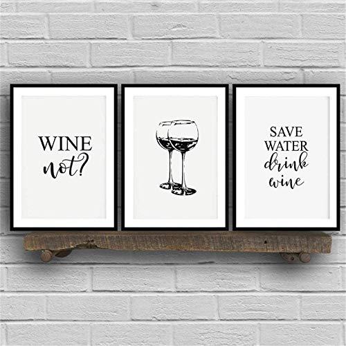 Sparen Sie Wasser Trinken Zitate Wand Bilder Leinwand Bild Poster Kunstdrucke WeingläSer Schwarz Weiß Lustige KüChe FüR äSthetische Wohnkultur Rahmenlos 50×70 cm×3 StüCk