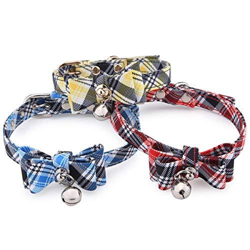 JOYOYO 3 Pack Reflecterende Hondenhalsbanden met Bell Puppy Collars Mooie Kattenhalsbanden met Bow Tie Verstelbare Band 25-32 cm Veiligheid Quick Release