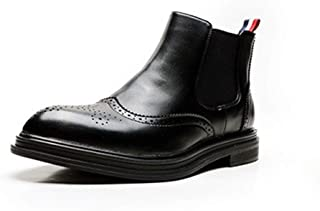 ZHANGLEI Chelsea Boot for Men Ankle Shoes Pull on with Elastic Band Microfiber Leather Anti Slip Pointed Toe Block Heel Wingtip Brogue Carving (Color : Black, Size : 5.5 UK)
