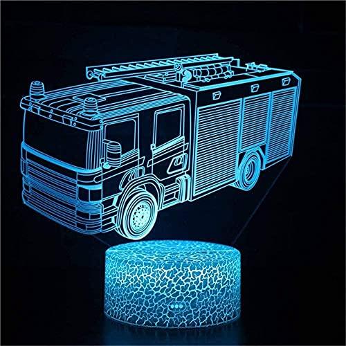 Lonfencr Lámpara de escritorio táctil Camión de bomberos Decoración Lámparas con Control Remoto LED Luz de Noche 16 Color San Valentín s Día USB Power Control táctil