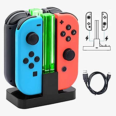 JoyCon Controller Charger for Nintendo Switch, Ewaves 4 in 1 Joycon Charging Dock Stand Station for Switch Joy-con Controllers with Charging Indicator and USB Type C Charging Cable (Black)