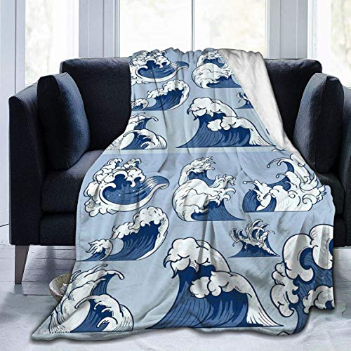 Nat Abra Blue and White Wave Print Flannel Fleece Blanket Throw Ultra-Soft Velvet Plush Throw Blanket 50x60in