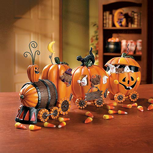 Pumpkin Express Train for Halloween Decorations - Fall Home Decor Table Top Figurines