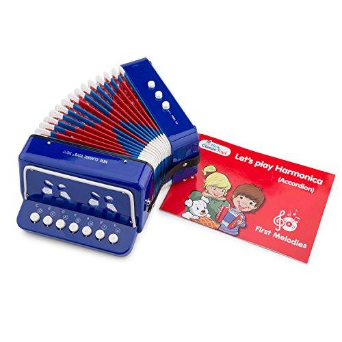 New Classic Toys Instrument à Vent pour débutants Accordéon Bleu avec Le Livre de Musique