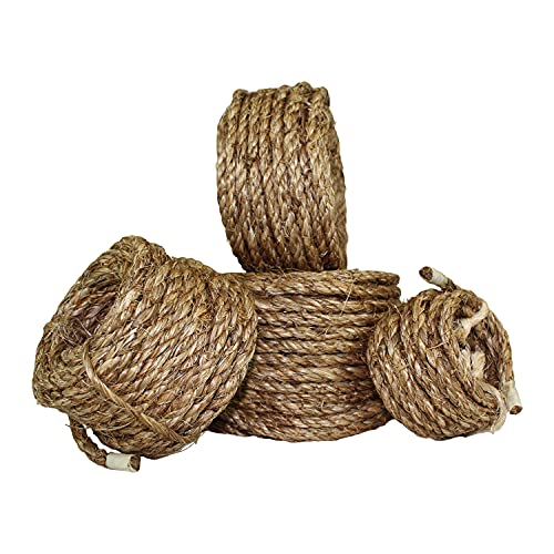 """SGT KNOTS Twisted Manila Rope - Natural 3 Strand Fiber for Indoor and Outdoor Use (1.5"""" x 25ft)"""