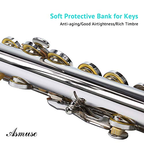 Asmuse Asmuse Flöte mit Koffer und Zubehör Querflöte Kupfernickel Überzogene Silberne 16 Löcher C Tonart