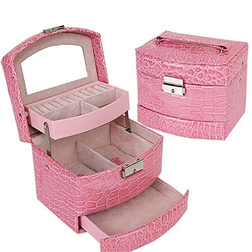 NgMik Caja De Almacenaje Almacenamiento Collar portátil de Viaje Joyero Pulsera Gabinete Armario for los Anillos de Casos Suave (Color : Pink, Size : 13X12.5X13CM)