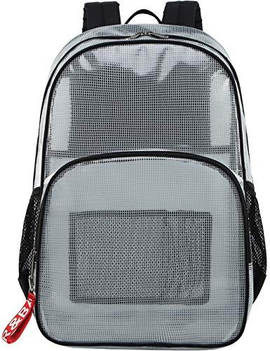 Mygreen Stadium Approved Rucksack, strapazierfähig, für 15,6 Zoll Laptops, transparent, schwarz (Schwarz) - MG19162BK