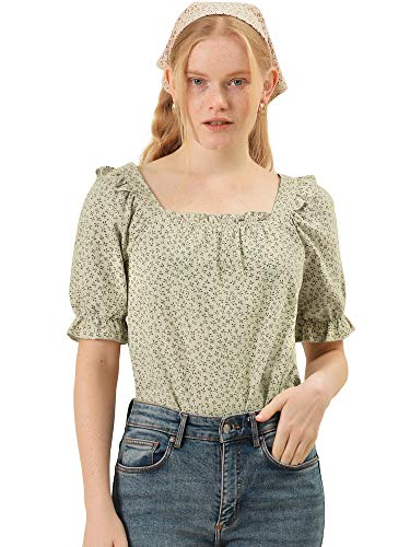 Allegra K Women's Square Neck Puff Sleeve Ruffled Peasant Floral Blouse Top X-Small Apricot