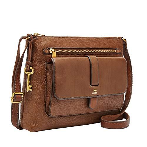 Fossil Women's Kinley Leather Large Crossbody Purse Handbag, Brown