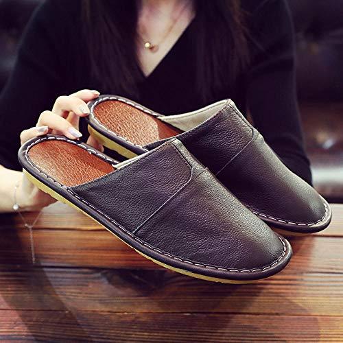 Nwarmsouth Calzado sin Cordones para Interiores y Exteriores,Mobiliario para el hogar Zapatos de Cuero Baotou, Zapatos Antideslizantes de algodón cálido-Marrón Oscuro_41-42,Zapatillas de casa Ant