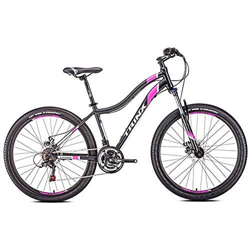 Damen Mountain Bikes, 21-Gang-Doppelscheibenbremse Mountain Trail Bike, Vorderradaufhängung Hardtail Mountainbike, Erwachsene Fahrrad, 24 Zoll Weiß FDWFN (Color : 26 Inches Black)
