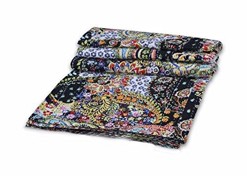 V Vedant Designs Indian Handmade Cotton Kantha Quilt Throw Blanket Bedspread Gudari (Black Paisley Twin)