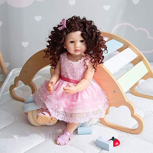 XYBHD 55 cm Cuerpo Completo Suave Silicona Flexible Real Suave Toque renacido bebé niño pequeño pinque Rizado Pelo Moda muñeca
