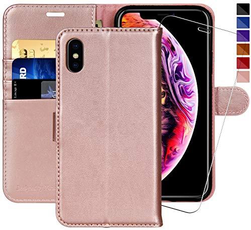 MONASAY iPhone X Handytasche/iPhone XS Handyhülle,5.8 Zoll, [Gratis Panzerglas Schutzfolie] Handyfach Brieftasche Schutzhülle Tasche Flip klappbar Leder Hülle mit Kartenfach für Apple iPhone X/XS