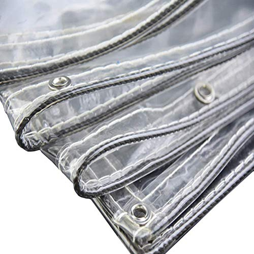 Heavy Duty Waterproof Clear Tarpaulin with Eyelets,0.35mm Transparent PVC Glass See Through Tarp,Rainproof Outdoor Courtyard Plant Canopy Cover,400g/M², Size Can Be Customized(1x2.5m/3.3x8.2ft)