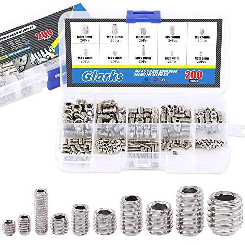 Glarks 200-Piece M3 4 5 6 8 Hex Allen Head Socket Set Screw Assortment Kit (304 Stainless Steel)