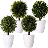 FagusHome 8' Artificial Plants Potted Artificial Boxwood Topiary Tree Artificial Ball Shaped Tree Fake Fresh Green Grass Flower in White Plastic Pot for Home Décor – Set of 4 (B)