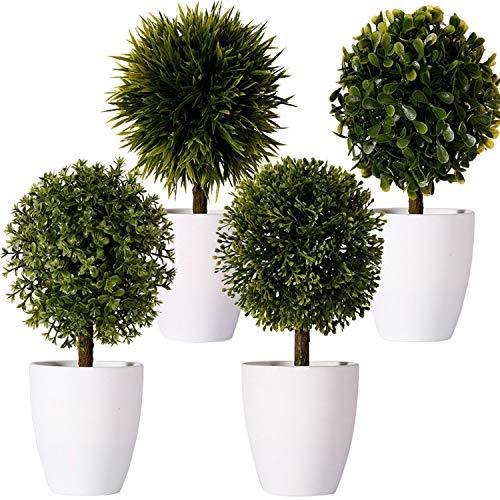 FagusHome 20cm Hoch Künstliche Pflanzen im Topf 4 Stücke künstlichen Buchsbaum Topiary Baum kleinen Kunstpflanzen in weißen Plastiktopf (B)