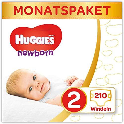 Huggies Newborn Baby Windeln Größe 2, 3 bis 6 kg, Für Neugeborene, Mit Nässeindikator, 210 Windeln, Monatsbox