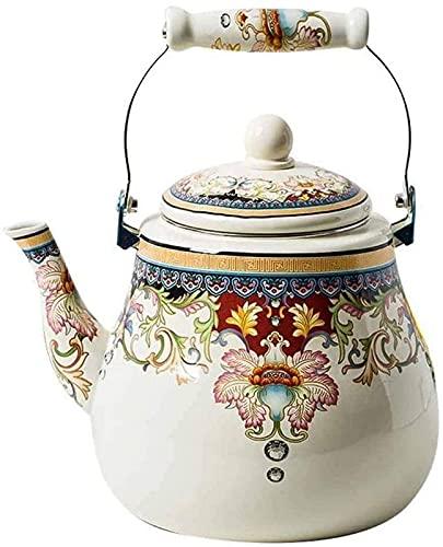 aipipl Olla de Esmalte Tetera Tetera de Porcelana Grande Tetera de Esmalte Hervidor de Agua Caliente Diseño Retro Cocina de inducción Cafetera en la Estufa Taza de té