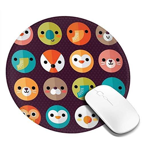 7.9x7.9 In Ronde muismat Smiley Ronde Dierlijke Bureau Toetsenbord Mat Grote Muis Pad Voor Computer Desktop PC Laptop