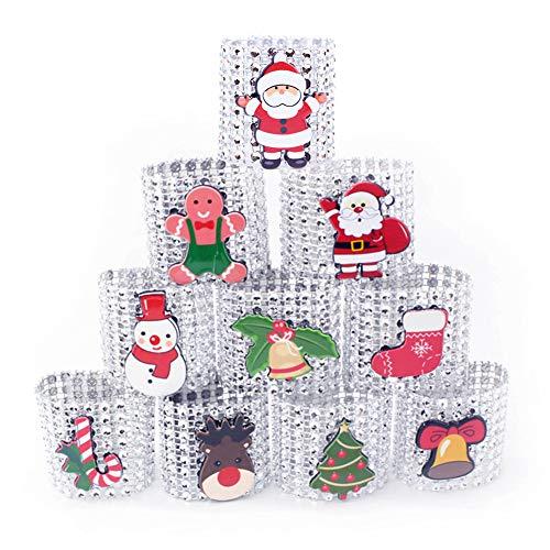 Rondes de serviette,porte-alliances de porte-serviettes de Noël en strass de Noël 10 pièces en argent/diamant rouge boucles de bagues de serviette de table pour décorations de table de Noël, Silver