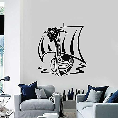 Tianpengyuanshuai Vinyl wandtattoo für Wohnzimmer mittelalterlichen Wikinger Schiff Wasserhahn wandaufkleber Junge Zimmer Nordic Dekoration 63x67 cm