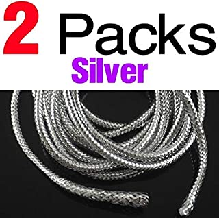Jammas 2Packs(Total 4m) Mraided Holographic Mylar Cord 3.5mm 3mm Tubes For Fish Fly Tying Materials There Are White Lines Filling - (Color: 2 Pack Silver)