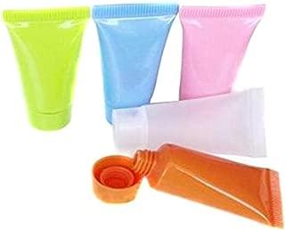 20個5ml/10ml空の詰め替えカラープラスチックトラベル化粧品メイクアップソフトチューブ容器ボトルシャワージェルボディローションシャンプークレンザーパッキングサンプルボトル (5 ML)