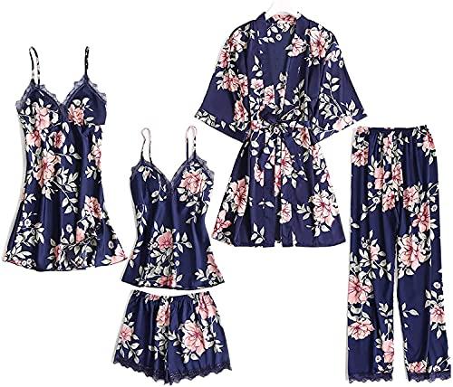 Danfiki Damen Nachthemd Set Satin Schlafanzug 5PC Morgenmantel Kimono Spitze Kurz Bademantel Robe Schlafanzug Pyjama Nachtwäsche Trägerkleid Shorts und Hosen Dessous Lace Mit Blumen