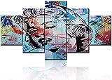 Thznmg Cuadros En Lienzo Arte 200X100 Cm/ 78.8'X 39.4'Arte De Pared Imágenes De Chicas Rubias Películas Clásicas Actrices Pinturas para Vivir 5 Piezas Impresas En Lienzo Obra De Arte