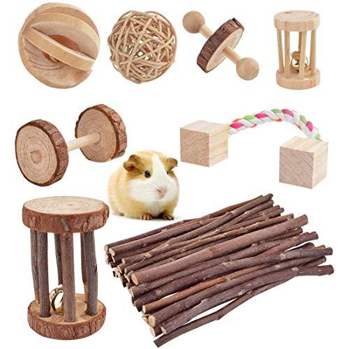 LISSION Hamster-Kauspielzeug für Käfig, 8 Stück, aus natürlichem Kiefernholz, Zahnpflege-Spielzeug für Meerschweinchen, Ratten, Chinchillas, Kaninchen, Rennmäuse, kleine Haustiere