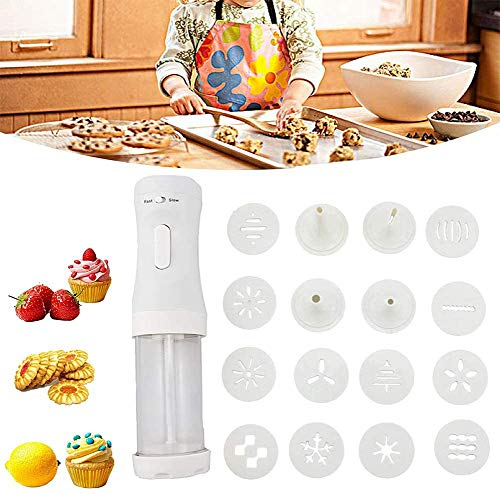 OZiO Electric Cookie Press Gun Cookie Maker Kit Electric Cookie Decorating Tool 12 Discs and 4 Icing Tips Perfect for DIY Cookie Maker and Cake Icing Decoration Best Tool for Kitchen