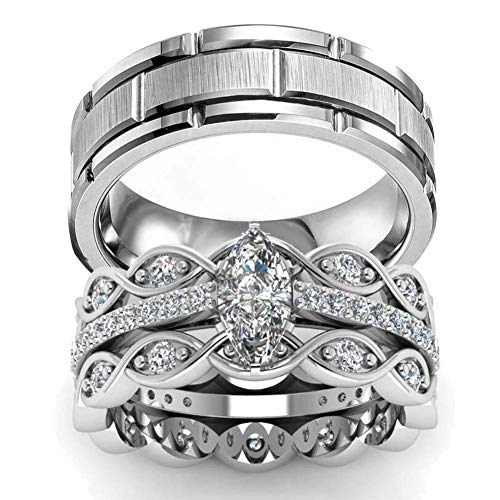 Gy Jewelry Two Rings His and Hers Wedding Ring Sets Couples Rings Women's 2PC White Gold Filled Cubic Zirconia Wedding Engagement Ring Bridal Sets & Men's Stainless Steel Wedding Band