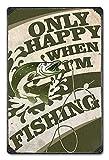 Migsrater Cartel de metal con texto en inglés 'Only Happy When I Fish' para exteriores con cebo nacional de pescado para decoración de pared,...