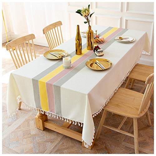 WLI Mantel de Lino de algodón Lavable, 105x120cm, Mantel Rectangular Blanco, Cubierta de Mesa Decorativa a Prueba de Agua para Cocina, Comedor, Restaurante, Fiesta