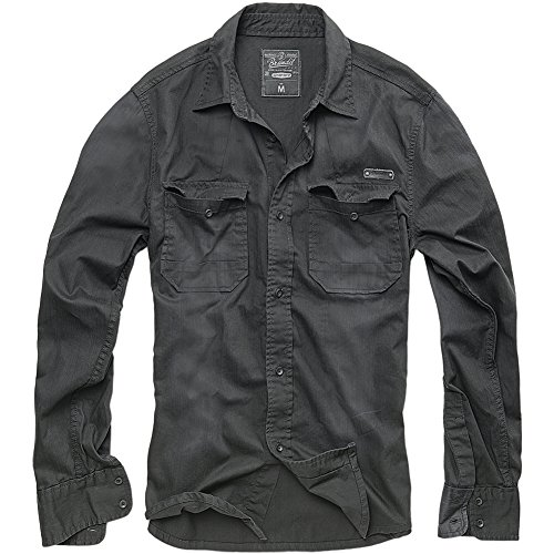 Brandit Hardee Denim Shirt Camicia, Schwarz, 5XL Uomo