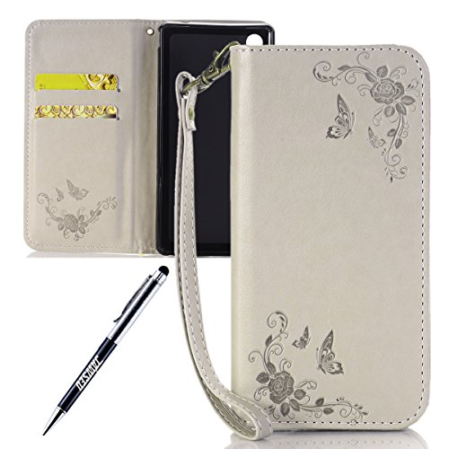 JAWSEU Coque Sony Xperia Z3,Etui Sony Xperia Z3 Portefeuille PU Étui Folio Cuir à Rabat Magnétique Roses Une Fleur Ultra Mince Stand Leather PU Case Flip Wallet Case pour Sony Xperia Z3,Girs