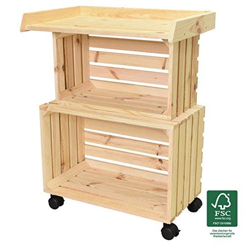 WAGNER GreenFAMILY - mobiele plantentafel GreenTABLE - naaldhout natuur FSC, 80 x 60 x 40 cm, 4 wielen, 2 vastzetplaatsbesparend op te bergen, veelzijdig inzetbaar - 25026001