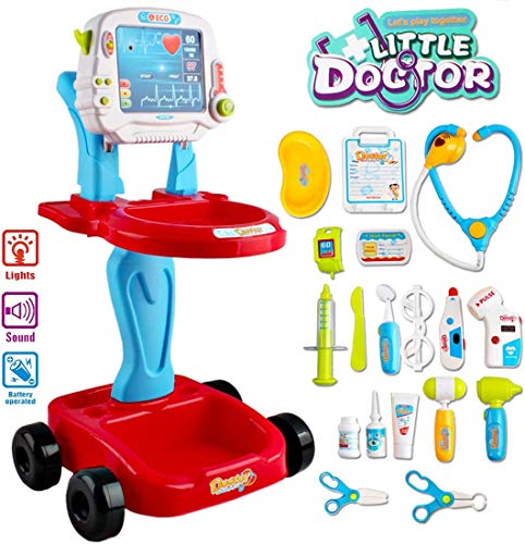 deAO Toys Little Doctor tragbares Krankenhaus-Spielset für Kinder, für Rollenspiele, mit Zubehör