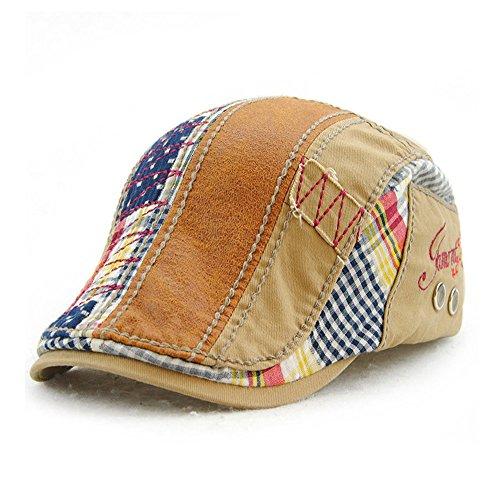 M MOACC Men Beret Hat Cotton Adjustable Newsboy Hats Cabbie Gatsby Cap,Beige #8597