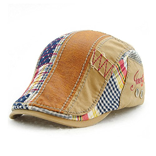 Color : 2, Size : Free Size MUMUWU Caps Men Cotton Adjustable Flat Cap Quilted Duckbill Newsboy Gatsby Irish Hat Hat